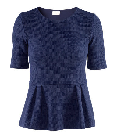 Top - neckline: round neck; pattern: plain; waist detail: fitted waist, peplum waist detail; predominant colour: navy; occasions: casual, evening, work; length: standard; style: top; fibres: polyester/polyamide - stretch; fit: body skimming; sleeve length: short sleeve; sleeve style: standard; pattern type: fabric; pattern size: standard; texture group: other - light to midweight; season: a/w 2012