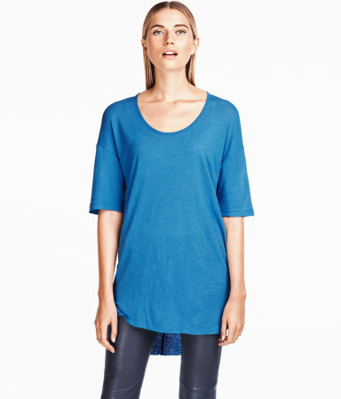 Top - neckline: round neck; pattern: plain; length: below the bottom; style: t-shirt; predominant colour: royal blue; occasions: casual, work; fibres: linen - mix; fit: straight cut; back detail: longer hem at back than at front; sleeve length: long sleeve; sleeve style: standard; pattern type: fabric; pattern size: standard; texture group: jersey - stretchy/drapey; season: a/w 2012