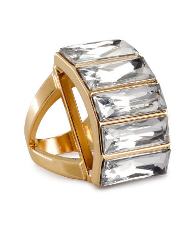 Ring - predominant colour: gold; occasions: evening, occasion; style: cocktail; size: large/oversized; material: chain/metal; finish: metallic; embellishment: crystals/glass; season: a/w 2012