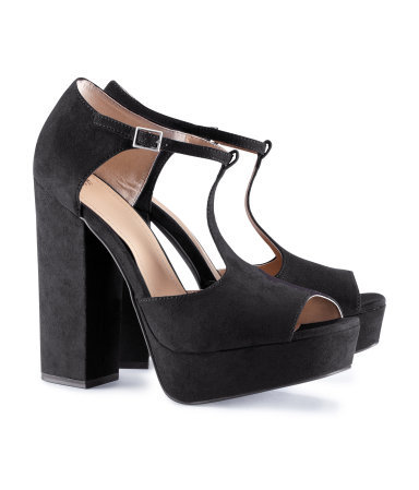 Shoes - predominant colour: black; occasions: casual, creative work; material: faux leather; heel height: high; embellishment: buckles; ankle detail: ankle strap; heel: block; toe: open toe/peeptoe; style: standard; finish: plain; pattern: plain; shoe detail: platform; season: a/w 2012