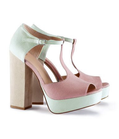 Shoes - predominant colour: blush; occasions: occasion; material: faux leather; heel height: high; embellishment: buckles; ankle detail: ankle strap; heel: block; toe: open toe/peeptoe; style: standard; finish: plain; pattern: colourblock; shoe detail: platform; season: a/w 2012