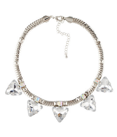 Necklace - predominant colour: silver; occasions: evening, creative work; length: short; size: large/oversized; material: chain/metal; finish: metallic; embellishment: crystals/glass; style: bib/statement; season: a/w 2012