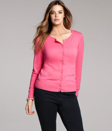+ Cardigan - neckline: round neck; pattern: plain; hip detail: draws attention to hips; predominant colour: pink; occasions: casual, work; length: standard; style: standard; fibres: cotton - mix; fit: standard fit; waist detail: fitted waist; sleeve length: long sleeve; sleeve style: standard; texture group: knits/crochet; pattern type: knitted - fine stitch; season: a/w 2012