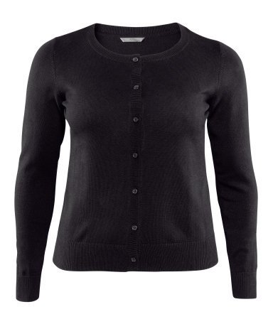 + Cardigan - neckline: round neck; pattern: plain; hip detail: draws attention to hips; predominant colour: black; occasions: casual, work; length: standard; style: standard; fibres: cotton - mix; fit: standard fit; waist detail: fitted waist; sleeve length: long sleeve; sleeve style: standard; texture group: knits/crochet; pattern type: knitted - fine stitch; season: a/w 2012