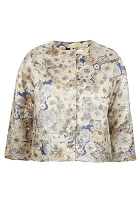Floral Jacquard Ovoid Jacket - collar: high neck; style: boxy; predominant colour: ivory/cream; occasions: casual, evening, work, occasion; fit: straight cut (boxy); fibres: cotton - mix; sleeve length: 3/4 length; sleeve style: standard; texture group: ornate wovens; trends: statement prints; collar break: high; pattern type: fabric; pattern size: standard; pattern: florals; season: a/w 2012; length: cropped
