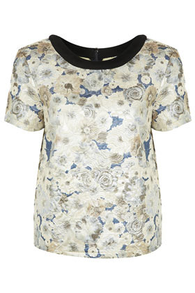 Premium Quilted Floral Tee - neckline: round neck; sleeve style: capped; style: t-shirt; predominant colour: ivory/cream; occasions: casual, evening, work; length: standard; fibres: cotton - mix; fit: straight cut; sleeve length: short sleeve; texture group: silky - light; trends: high impact florals; pattern type: fabric; pattern size: standard; pattern: florals; season: a/w 2012