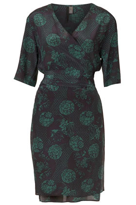 Oriental Silk Wrap Dress Boutique - style: faux wrap/wrap; neckline: v-neck; fit: fitted at waist; predominant colour: dark green; occasions: casual, evening; length: just above the knee; fibres: silk - 100%; sleeve length: short sleeve; sleeve style: standard; texture group: silky - light; pattern type: fabric; pattern size: standard; pattern: patterned/print; season: a/w 2012