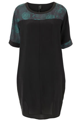 Oriental Silk Split Dress Boutique - style: t-shirt; neckline: round neck; shoulder detail: contrast pattern/fabric at shoulder; predominant colour: black; occasions: casual, creative work; length: just above the knee; fit: body skimming; fibres: silk - 100%; sleeve length: short sleeve; sleeve style: standard; texture group: silky - light; pattern type: fabric; pattern size: light/subtle; pattern: colourblock; season: a/w 2012