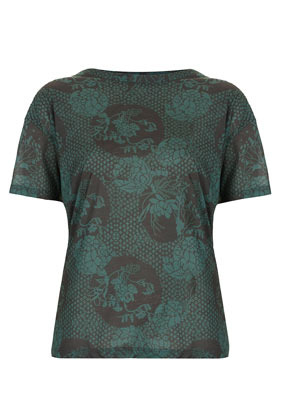 Oriental Print Tee Boutique - neckline: round neck; style: t-shirt; predominant colour: dark green; occasions: casual, evening, work; length: standard; fibres: polyester/polyamide - 100%; fit: straight cut; back detail: longer hem at back than at front; sleeve length: short sleeve; sleeve style: standard; pattern type: fabric; pattern size: standard; pattern: florals, patterned/print; texture group: jersey - stretchy/drapey; season: a/w 2012