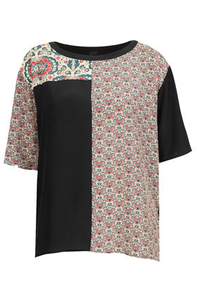 Silk Contrast Floral Print Top Boutique - neckline: round neck; back detail: contrast pattern/fabric at back; predominant colour: black; occasions: casual; length: standard; style: top; fibres: silk - 100%; fit: straight cut; sleeve length: short sleeve; sleeve style: standard; pattern type: fabric; pattern: florals, patterned/print; texture group: jersey - stretchy/drapey; season: a/w 2012; pattern size: big & busy (top)