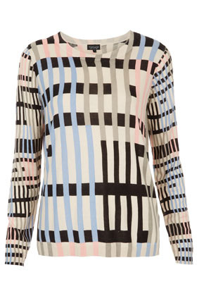 Knitted Graphic Print Jumper - neckline: round neck; pattern: checked/gingham, striped, patterned/print; style: standard; occasions: casual, work; length: standard; fibres: cotton - 100%; fit: standard fit; predominant colour: multicoloured; sleeve length: long sleeve; sleeve style: standard; texture group: knits/crochet; trends: modern geometrics; pattern type: fabric; season: a/w 2012; pattern size: big & busy (top); multicoloured: multicoloured