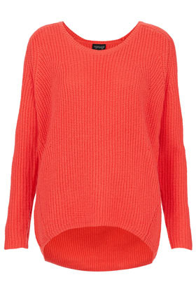 Knitted Rib Scoop V Jumper - neckline: round neck; length: below the bottom; style: standard; predominant colour: true red; occasions: casual, work; fibres: acrylic - mix; fit: loose; back detail: longer hem at back than at front; sleeve length: long sleeve; sleeve style: standard; texture group: knits/crochet; pattern type: knitted - big stitch; pattern size: standard; season: a/w 2012