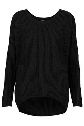 Knitted Rib Scoop V Jumper - neckline: round neck; pattern: plain; style: standard; predominant colour: black; occasions: casual, work; length: standard; fibres: cotton - mix; fit: loose; back detail: longer hem at back than at front; sleeve length: long sleeve; sleeve style: standard; texture group: knits/crochet; pattern type: knitted - big stitch; pattern size: standard; season: a/w 2012