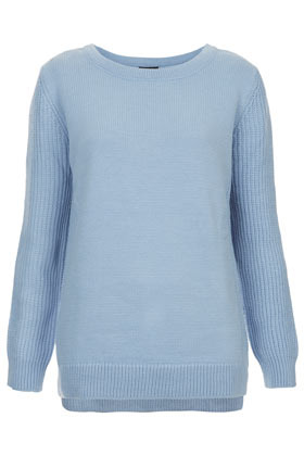 Knitted Rib Sleeve Jumper - neckline: round neck; pattern: plain; length: below the bottom; style: standard; predominant colour: pale blue; occasions: casual, work; fibres: acrylic - 100%; fit: standard fit; sleeve length: long sleeve; sleeve style: standard; texture group: knits/crochet; pattern type: knitted - fine stitch; pattern size: standard; season: a/w 2012