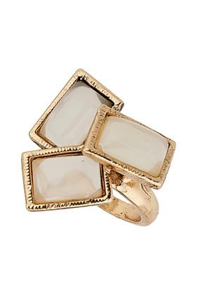 Rectangle Stone Ring - predominant colour: gold; occasions: casual, evening, occasion; style: cocktail; size: large/oversized; material: chain/metal; finish: metallic; embellishment: jewels/stone; season: a/w 2012