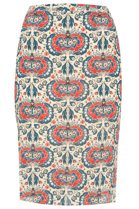 Silk Sweet Print Zip Pencil Skirt Boutique - style: pencil; fit: body skimming; waist: high rise; hip detail: draws attention to hips; predominant colour: true red; occasions: casual, evening, work; length: on the knee; fibres: silk - 100%; texture group: silky - light; trends: statement prints; pattern type: fabric; pattern: patterned/print; season: a/w 2012; pattern size: big & busy (bottom)