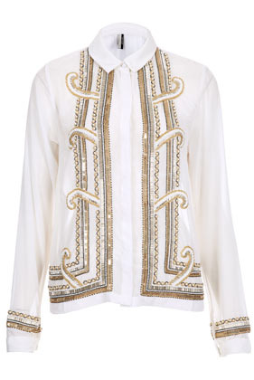 Premium Deco Embellished Shirt - neckline: shirt collar/peter pan/zip with opening; pattern: plain; bust detail: added detail/embellishment at bust; style: shirt; predominant colour: ivory/cream; occasions: casual, evening, occasion; length: standard; fibres: polyester/polyamide - 100%; fit: straight cut; sleeve length: long sleeve; sleeve style: standard; texture group: crepes; pattern type: fabric; embellishment: beading; season: a/w 2012; pattern size: big & busy (top)