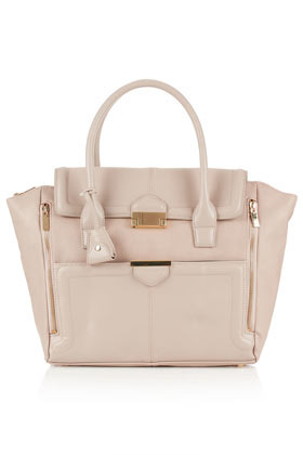 Winged Pushlock Tote - predominant colour: nude; occasions: casual, creative work; type of pattern: standard; style: tote; length: handle; size: oversized; material: faux leather; pattern: plain; finish: plain; season: a/w 2012