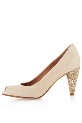 Jollie Glitter Sole Heels - predominant colour: nude; occasions: evening, occasion; material: leather; heel height: mid; embellishment: glitter; heel: cone; toe: open toe/peeptoe; style: courts; finish: patent; pattern: pinstripe, plain; season: a/w 2012