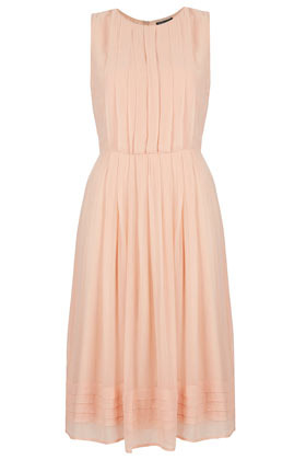 Pleated Panel Midi Dress - style: shirt; length: below the knee; neckline: round neck; fit: fitted at waist; pattern: plain; sleeve style: sleeveless; waist detail: fitted waist; predominant colour: blush; occasions: evening, occasion; fibres: polyester/polyamide - 100%; sleeve length: sleeveless; texture group: sheer fabrics/chiffon/organza etc.; pattern type: fabric; season: a/w 2012