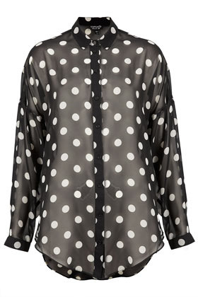 Oversize Monochrome Spot Shirt - neckline: shirt collar/peter pan/zip with opening; length: below the bottom; style: shirt; pattern: polka dot; predominant colour: black; occasions: casual, evening, work; fibres: polyester/polyamide - 100%; fit: loose; sleeve length: long sleeve; sleeve style: standard; texture group: sheer fabrics/chiffon/organza etc.; pattern type: fabric; pattern size: standard; season: a/w 2012