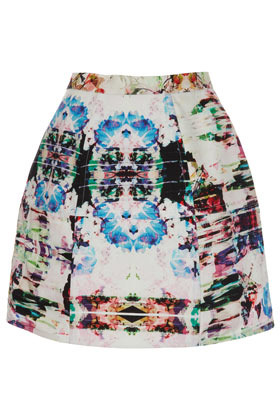 Floral Camo Lantern Skirt - length: mid thigh; fit: loose/voluminous; waist: high rise; occasions: casual, evening, work; style: a-line; fibres: cotton - 100%; waist detail: narrow waistband; predominant colour: multicoloured; texture group: structured shiny - satin/tafetta/silk etc.; trends: high impact florals, volume, modern geometrics; pattern type: fabric; pattern: florals, patterned/print; season: a/w 2012; pattern size: big & busy (bottom); multicoloured: multicoloured