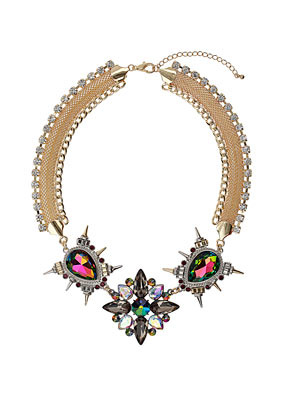 Premium Stone Necklace - predominant colour: silver; occasions: evening, occasion; length: short; size: large/oversized; material: chain/metal; finish: metallic; embellishment: jewels/stone; secondary colour: dusky pink; style: bib/statement; season: a/w 2012