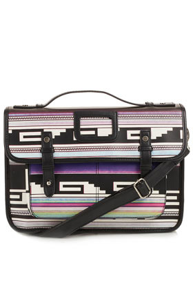 Mexican Rave Print Satchel - occasions: casual, work; predominant colour: multicoloured; type of pattern: heavy; style: satchel; length: across body/long; size: standard; material: faux leather; trends: statement prints, modern geometrics; finish: plain; pattern: horizontal stripes, patterned/print; embellishment: buckles; season: a/w 2012; multicoloured: multicoloured