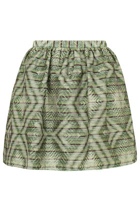 Green Aztec Print Full Skirt - length: mid thigh; style: full/prom skirt; fit: loose/voluminous; waist detail: elasticated waist, narrow waistband; waist: high rise; predominant colour: emerald green; occasions: casual, evening, work; fibres: cotton - mix; hip detail: structured pleats at hip; texture group: structured shiny - satin/tafetta/silk etc.; trends: volume, modern geometrics; pattern type: fabric; pattern: patterned/print; season: a/w 2012; pattern size: standard (bottom)