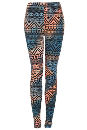 Navajo Aztec Leggings - length: standard; style: leggings; waist detail: elasticated waist; waist: high rise; occasions: casual; fibres: polyester/polyamide - stretch; predominant colour: multicoloured; texture group: jersey - clingy; trends: modern geometrics; fit: slim leg; pattern type: fabric; pattern: patterned/print; season: a/w 2012; pattern size: big & busy (bottom); multicoloured: multicoloured