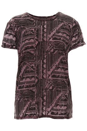 Aztec Burnout Tee - neckline: round neck; style: t-shirt; predominant colour: black; occasions: casual; length: standard; fibres: polyester/polyamide - mix; fit: straight cut; sleeve length: short sleeve; sleeve style: standard; trends: modern geometrics; pattern type: fabric; pattern size: standard; pattern: patterned/print; texture group: jersey - stretchy/drapey; season: a/w 2012