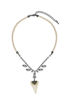 Rhinestone Shark Tooth Necklace - predominant colour: silver; occasions: evening, creative work; style: pendant; length: mid; size: standard; material: chain/metal; finish: metallic; embellishment: jewels/stone; season: a/w 2012