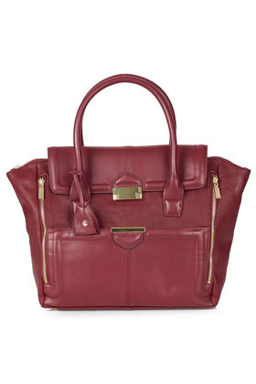 Winged Pushlock Tote Bag - predominant colour: burgundy; occasions: casual, creative work; type of pattern: standard; style: tote; length: handle; size: oversized; material: faux leather; embellishment: zips; pattern: plain; finish: plain; season: a/w 2012