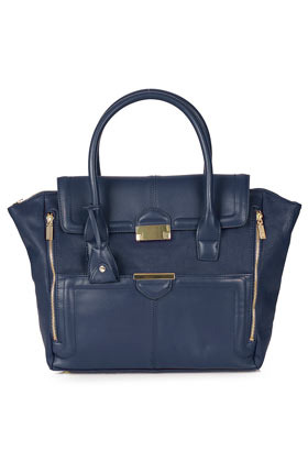 Winged Pushlock Tote Bag - predominant colour: navy; occasions: casual, creative work; type of pattern: standard; style: tote; length: handle; size: oversized; material: faux leather; embellishment: zips; pattern: plain; finish: plain; season: a/w 2012