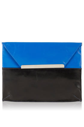 2 Tone Leather Envelope Clutch - predominant colour: diva blue; occasions: casual, evening, occasion; type of pattern: standard; style: clutch; length: hand carry; size: small; material: leather; pattern: plain, colourblock; finish: plain; embellishment: chain/metal; season: a/w 2012