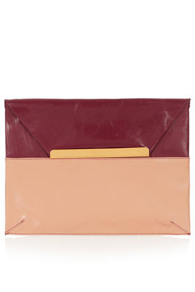 2 Tone Letter Envelope Clutch - predominant colour: burgundy; occasions: casual, evening, occasion; type of pattern: standard; style: clutch; length: hand carry; size: small; material: leather; pattern: plain, colourblock; finish: plain; embellishment: chain/metal; season: a/w 2012