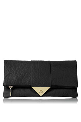 Tri Lock Merino Clutch - predominant colour: black; occasions: evening, occasion; type of pattern: standard; style: clutch; length: hand carry; size: standard; material: leather; pattern: plain; finish: plain; embellishment: chain/metal; season: a/w 2012
