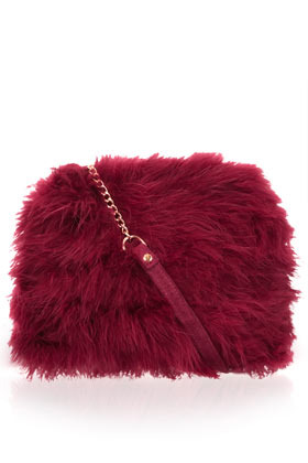 Marabou Feather Bag - predominant colour: burgundy; occasions: casual, creative work; type of pattern: standard; style: shoulder; length: shoulder (tucks under arm); size: standard; material: fur; embellishment: feathers; pattern: plain; finish: plain; season: a/w 2012
