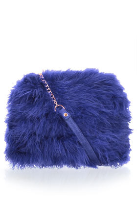 Marabou Feather Bag - predominant colour: royal blue; occasions: casual, creative work; type of pattern: standard; style: shoulder; length: shoulder (tucks under arm); size: standard; material: fabric; embellishment: feathers; pattern: plain; finish: plain; season: a/w 2012