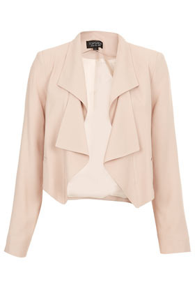 Folded Lapel Crop Jacket - pattern: plain; style: single breasted blazer; collar: shawl/waterfall; predominant colour: blush; occasions: casual, evening, work, occasion; length: standard; fit: straight cut (boxy); fibres: polyester/polyamide - 100%; sleeve length: long sleeve; sleeve style: standard; texture group: crepes; collar break: low/open; pattern type: fabric; season: a/w 2012