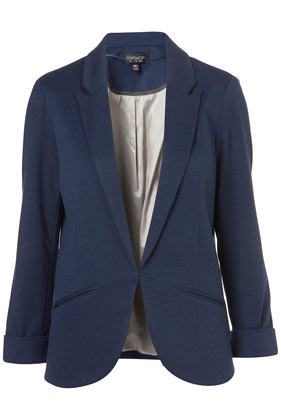 Ponte Boyfriend Blazer - pattern: plain; fit: loose; length: below the bottom; style: boyfriend; collar: standard lapel/rever collar; predominant colour: navy; occasions: casual, evening, work, occasion; fibres: polyester/polyamide - stretch; sleeve length: long sleeve; sleeve style: standard; collar break: low/open; pattern type: fabric; pattern size: standard; texture group: other - light to midweight; season: a/w 2012