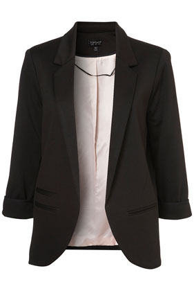 Ponte Boyfriend Blazer - pattern: plain; fit: loose; length: below the bottom; style: boyfriend; collar: standard lapel/rever collar; predominant colour: black; occasions: casual, evening, work, occasion; fibres: polyester/polyamide - stretch; sleeve length: 3/4 length; sleeve style: standard; collar break: low/open; pattern type: fabric; pattern size: standard; texture group: other - light to midweight; season: a/w 2012