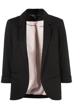Petite Ponte Blazer Jacket - pattern: plain; style: single breasted blazer; collar: standard lapel/rever collar; predominant colour: black; occasions: casual, evening, work, occasion; length: standard; fit: tailored/fitted; fibres: polyester/polyamide - mix; sleeve length: 3/4 length; sleeve style: standard; collar break: low/open; pattern type: fabric; pattern size: standard; texture group: other - light to midweight; season: a/w 2012