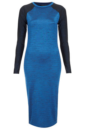 Space Dye Raglan Bodycon Dress - length: below the knee; sleeve style: raglan; fit: tight; style: bodycon; shoulder detail: contrast pattern/fabric at shoulder; predominant colour: royal blue; occasions: casual, evening; fibres: polyester/polyamide - stretch; neckline: crew; sleeve length: long sleeve; texture group: jersey - clingy; pattern type: fabric; pattern size: light/subtle; pattern: colourblock; season: a/w 2012