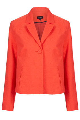 Textured Crop Swing Jacket - pattern: plain; style: single breasted blazer; collar: standard lapel/rever collar; predominant colour: bright orange; occasions: casual, work, occasion; length: standard; fit: tailored/fitted; fibres: cotton - mix; sleeve length: long sleeve; sleeve style: standard; trends: fluorescent; collar break: medium; pattern type: fabric; season: a/w 2012