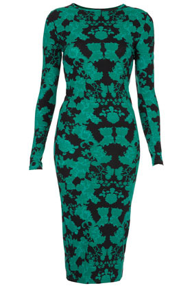 Lace Placement Midi Bodycon Dress - neckline: round neck; fit: tight; style: bodycon; waist detail: fitted waist; hip detail: draws attention to hips; predominant colour: emerald green; occasions: casual, evening; length: on the knee; fibres: polyester/polyamide - stretch; sleeve length: long sleeve; sleeve style: standard; texture group: jersey - clingy; trends: statement prints; pattern type: fabric; pattern size: big & busy; pattern: florals, patterned/print; season: a/w 2012