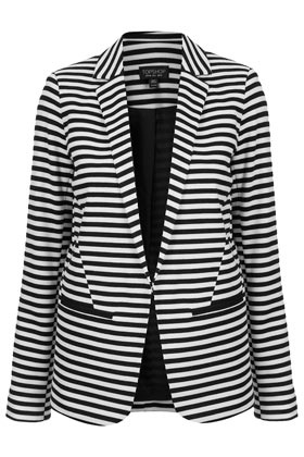 Stripe Ponte Blazer - pattern: striped; fit: loose; style: boyfriend; collar: standard lapel/rever collar; predominant colour: black; occasions: casual, work; length: standard; fibres: polyester/polyamide - stretch; sleeve length: long sleeve; sleeve style: standard; texture group: crepes; trends: striking stripes; collar break: low/open; pattern type: fabric; pattern size: standard; season: a/w 2012