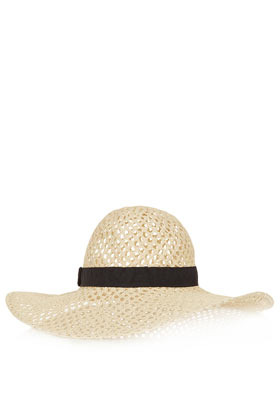 Large Hole Floppy Hat - predominant colour: stone; occasions: casual, holiday; type of pattern: standard; embellishment: ribbon; style: wide brimmed; size: large; material: macrame/raffia/straw; pattern: colourblock; season: a/w 2012