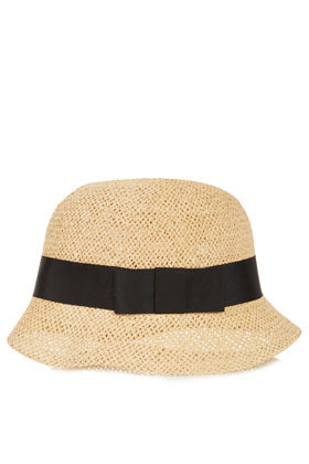 Straw Cloche Hat - predominant colour: ivory/cream; occasions: casual, holiday; type of pattern: small; embellishment: ribbon; style: cloche; size: standard; material: macrame/raffia/straw; pattern: plain; season: a/w 2012