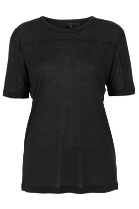 Cashmere Seam Tee Boutique - neckline: round neck; bust detail: added detail/embellishment at bust; style: t-shirt; predominant colour: black; occasions: casual, work; length: standard; fibres: polyester/polyamide - stretch; fit: straight cut; sleeve length: short sleeve; sleeve style: standard; pattern type: fabric; texture group: jersey - stretchy/drapey; season: a/w 2012